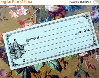 ONSALE 1800s Antique Engraving  ephemera 124 Year Old Divine Unused Check/Receipt