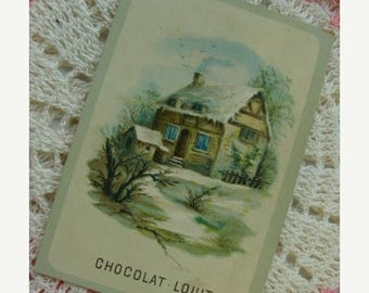 ONSALE Antique French Chocolat Paris Trading Card