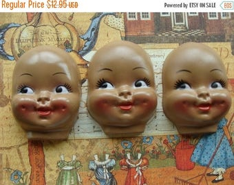 ONSALE Large Black Dimpled Creepy Vintage Doll Faces