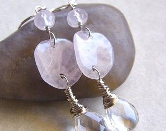 Summer Sale 20% Off Rose Quartz Earrings, Crystal Quartz Teardrop Earrings, PInk Earrings, Blush Earrings, Bridal Earrings