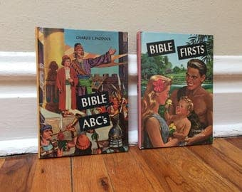 Children's Bible Book Set of 2 Illustrated Religious Christian Bible Stories Vintage Hardcover Bible Firsts and Bible ABC's
