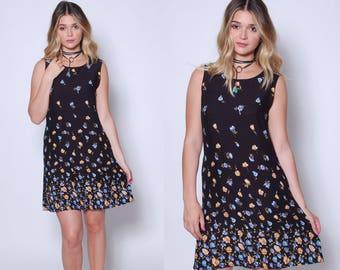 Vintage 90s Black Floral Mini Dress GRADIENT Floral Sundress Grunge Floral Mini Dress NEVER WORN