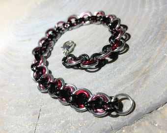 Rings Bracelet Pink Black Silver Chainmail Handmade Chainmaille