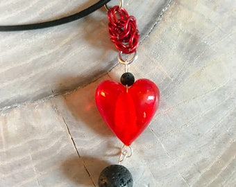 Heart Lava Beads Leather Cord Necklace