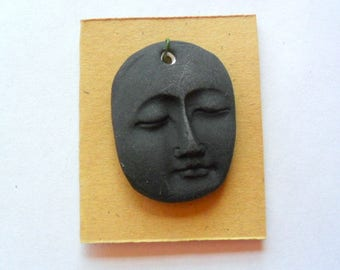 Matte Black Glazed Kiln Fired Clay Face Pendant Finding