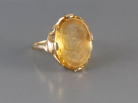 Antique Art Nouveau 14k 12.72 ct citrine quartz intaglio cameo statement ring, signed Untermeyer Robbins size 7, asymmetrical waves mounting