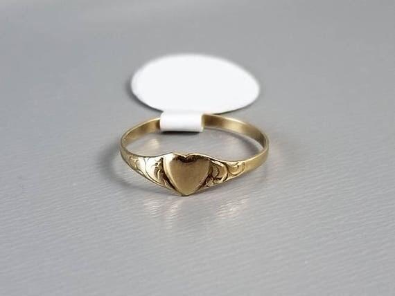 Antique Edwardian 10k heart shaped baby ring, signet ring, christening, baptism, baby gift, baby shower, size 1