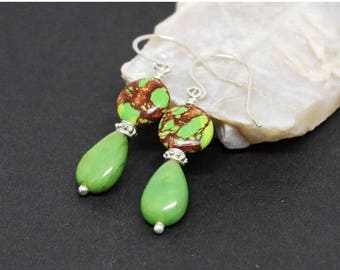 Christmas In July Sale - Copper Turquoise and Chrysoprase Gemstones . Sterling Silver Dangle Drop Earrings . Copper Orange, Apple Green . E1