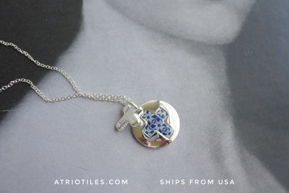 Father's Day Unisex 925 Silver Cross Necklace Portugal Blue Azulejo Tiles  - PORTO (see actual Facade photos)  reversible Gift Box Included