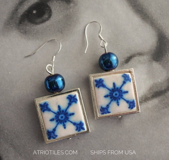 Earrings Tile Portugal Blue SILVER Antique Azulejo FRAMED Mafra Palace of the Marquis Quinta da Cerca (see photo) Gift Box Included 769