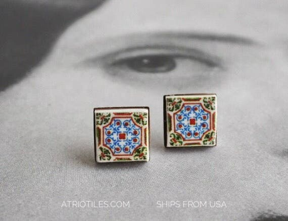 Stud Earrings Portugal Tile Post Antique Azulejo - Ovar  (see photo of facade) Stainless Steel Post - Hypo Allergenic Gift Box Included 404