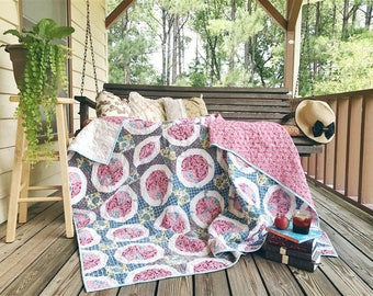 The Pie quilt, Twin - ish Size, made from an old quilt top, blue, pink and scrappy, granny chic, READY TO SHIP, curvy pies (maybe feedsack)