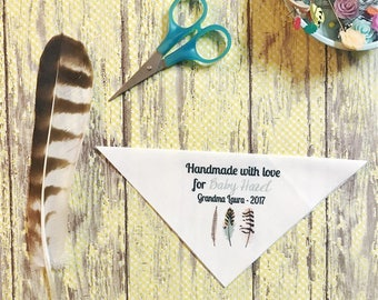 Feathers Personalized Quilt Labels, FOR THE CORNER of your quilt
