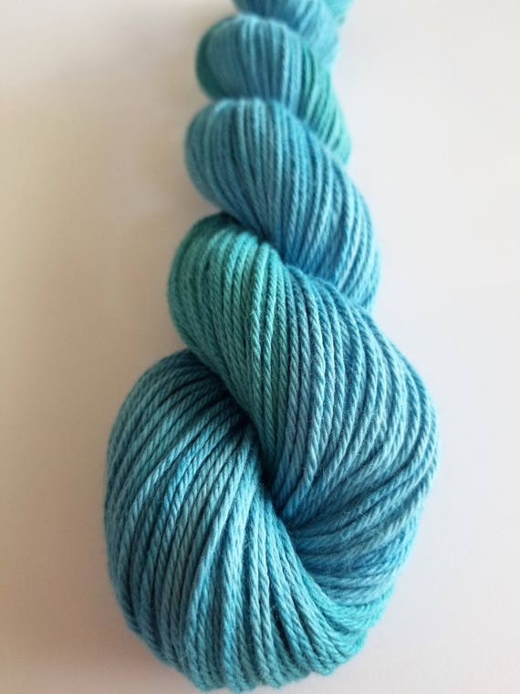 Kingfisher- 100% Cotton, Hand Dyed, Worsted Weight, Hand Painted Solid Colorway