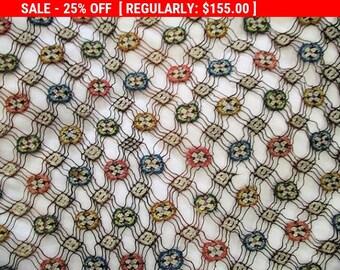 Antique Embroidered Net Lace Silk Trim Rare