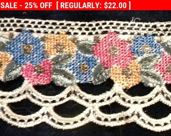 Vintage Metallic Lace Trim Petitepoint French