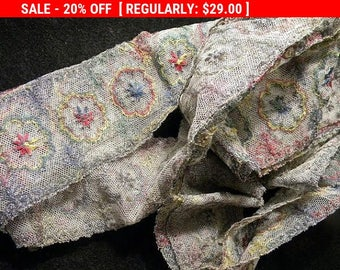 Gorgeous Antique Metallic Trim Embroidered Tulle French Net Lace Edwardian