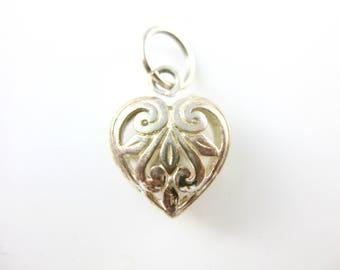 Vintage Ornate Sterling Silver Heart Charm Pendant