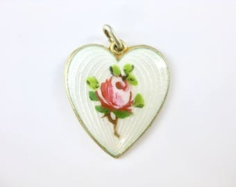 Vintage Norway Sterling Silver White Enamel Heart with Rose Pendant