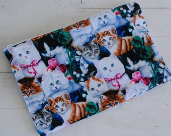 Cats Knitting Project Bag, Crochet Project Bag, WIP Bag, Project Bag, Knitting Project Bag Zipper, Knitting Project Bag Medium