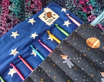 READY TO SHIP Crochet Hook Roll, Space theme, galaxy, stars, astronaut, planets