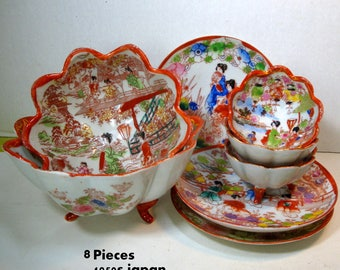 LOT of 8 Assorted Japanese Porcelain Bowls and Saucers, ALL Handpainted Figural Geisha Gal Scenes, Red White.Hand Decorated, Offering Bowls