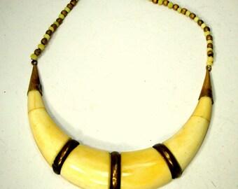 OxBone CRESCENT Bib Necklace w Brass Accents, 1960s Tribal Warrior Breastplate, Neo Egyptian Revival,  Boho Classic