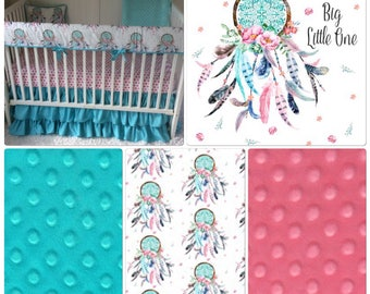 Dreamcatchers Baby Girl Crib Bedding Set Pink and Aqua Teal Feathers