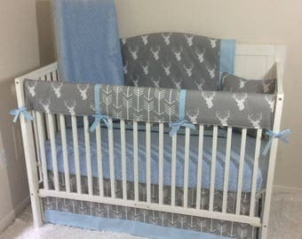 Baby Bedding Crib Set Light Blue Gray Stag and Arrows Bumperless with Blanket