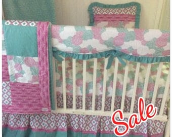 Pink and Teal Floral Baby Girl Crib Bedding Butterbeans Exclusive Ready to Ship