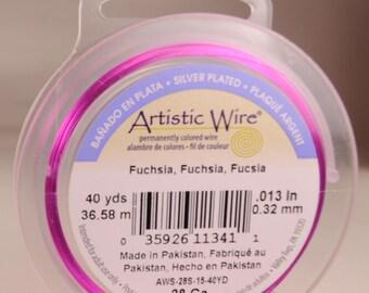 Artistic wire 28 gauge: silver-plated, copper core, fuchsia color
