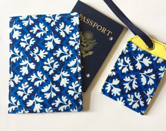 Cute Passport Cover and Luggage Tag Travel Set, Designer Fabric, Travel Essentials Set