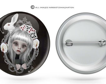 Pinback Button | Alice In Wonderland | White Rabbit | Art Badge | Wearable Art | Looking Glass | Button | Fairytale | You Choose Size