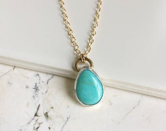 Turquoise Teardrop Pendant. Long Gold Filled Chain. Blue Turquoise. Neveda Mined. Golden and Turquoise. Boho Necklace. Layering Necklace.