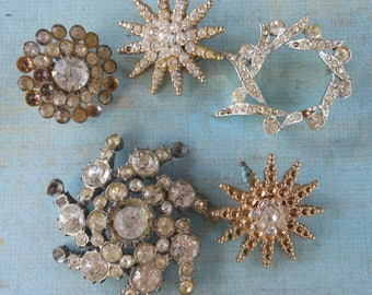 Art Deco Rhinestone Lot Brooches Snow flakes layered vintage jewelry gold silver collection upcycle repair