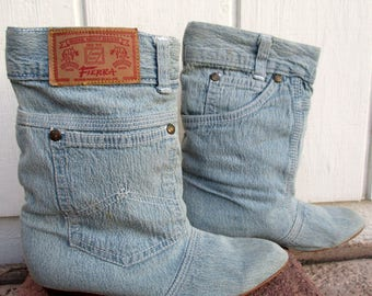 Vintage Fierra Joots Stonewashed Denim Bluejean Slouch Ankle Boots with Jeans Pockets Size 7 8