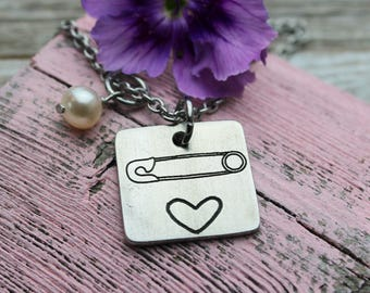 Safety Pin Necklace, fine pewter