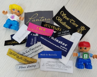 Personalized, Custom, Customize Damask  Woven Labels (Artwork) HemTags for Coats Tops Suits Hoodies Bottoms Jackets