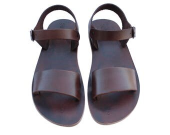 CLEARANCE SALE - Dark Brown Desert Leather Sandals - All Leather Sole  - Euro # 39 - Handmade Unisex Sandals, Genuine Leather, Sale
