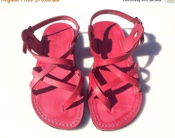 15% OFF Pink Triple Leather Sandals For Men & Women - Handmade Sandals, Leather Flats, Jesus Sandals, Unisex Sandals, Pink Leather Sandals
