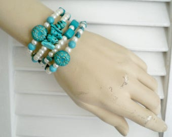 Turquoise and Pearls Wrap Bracelet - One size fits all - Handmade - Boho chic - Bohemian - Beaded Cuff - One of a Kind - bycat
