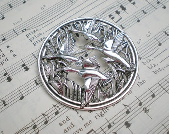 Sarah Coventry Flying Geese Pin, Rhodium Brooch, Sarah Coventry Pendant, Signed Vintage Jewelry