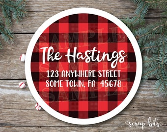 Red Buffalo Plaid Address Labels, Christmas Address Labels, Buffalo Check Labels, Christmas Envelope Seals, Christmas Plaid Stickers