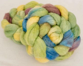 BFL, Tussah silk, Bluefaced Leicester, silk, Hand dyed roving, spinning wool, tops, fibre, handspinning, felting projects, felting materials