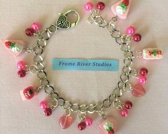 Kawaii Cakes & Beads Silver Charm Bracelet with Heart Clasp, Cakes and Beads Silver Charm Bracelet, Mini Cake Bracelet, Statement Jewelry