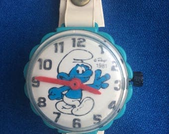 Vintage 80's Smurf Watch Totally Awesome and Fun Retro 1980s Plastic Toy
