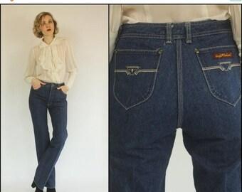SUMMER SALE Vintage 70's 80's Sergio Valente Denim Indigo blue High waist Boho Bell bottom Preppy Jeans S