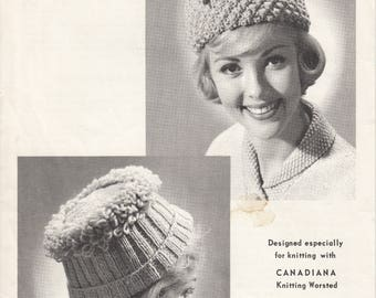 Vintage knitting pattern - Knitted hats by Beehive Pattern One Size
