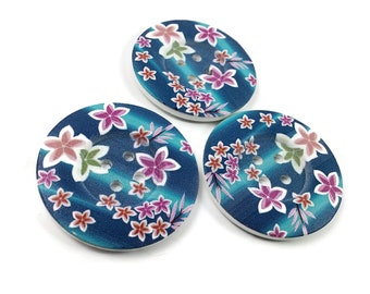 2 inch big buttons - Caribbean flowers wooden sewing buttons