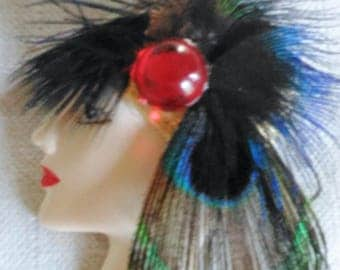 Woman Lady Head Feather Brooch Red type Stone